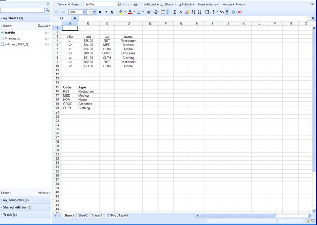 Zoho Spreadsheet
