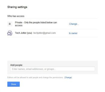Google Docs Sharing Window